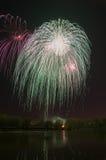 Fogo de artifício bonito em honra da Moscou Victory Day Parade Imagem de Stock