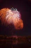 Fogo de artifício bonito em honra da Moscou Victory Day Parade Foto de Stock