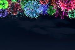 Fogo de artifício colorido no céu da meia-noite Fotografia de Stock Royalty Free