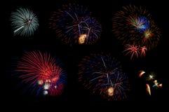 Fogo de artifício colorido no fundo preto Foto de Stock Royalty Free