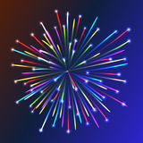 Fogo de artifício colorido sobre o fundo azul Fotos de Stock Royalty Free