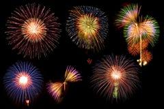 Fogo-de-artifício da mistura no céu preto Fotografia de Stock Royalty Free