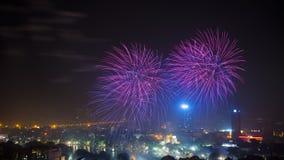 Fogo de artifício dia da libertação de Hanoi no 60th no lago Hoan Kiem, Hanoi, Vietname Foto de Stock Royalty Free