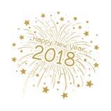 Fogo de artifício do vetor com ano novo feliz 2018 Fotos de Stock Royalty Free