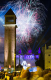 Fogo de artifício em Barcelona Foto de Stock