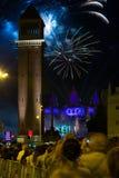 Fogo de artifício em Barcelona Fotografia de Stock Royalty Free
