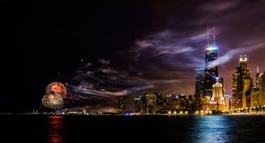 fogo de artifício em Chicago Fotos de Stock Royalty Free