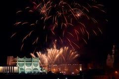 Fogo de artifício em Grodno Bielorrússia fotos de stock