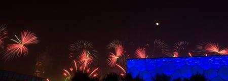 Fogo de artifício indicado no centro de natação nacional de China durante o APEC Foto de Stock Royalty Free