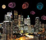 Fogo de artifício na cidade Fotografia de Stock Royalty Free