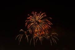 Fogo de artifício no céu escuro à celebração fotos de stock royalty free