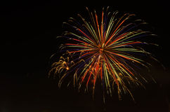 Fogo de artifício no céu escuro à celebração fotografia de stock royalty free