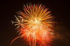 Fogo de artifício no céu escuro à celebração imagem de stock royalty free