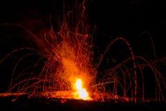Fogo de artifício no fogo Fotografia de Stock Royalty Free