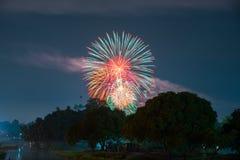Fogo de artifício no parque com jardim e fonte Fotografia de Stock