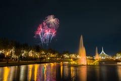 Fogo de artifício no parque com jardim e fonte Imagem de Stock
