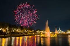 Fogo de artifício no parque com jardim e fonte Foto de Stock Royalty Free