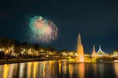 Fogo de artifício no parque com jardim e fonte Fotos de Stock Royalty Free