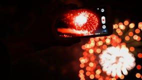 Fogo de artifício, público, smartphones & tabuletas filme