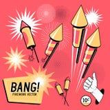 Fogo de artifício retro Rockets ilustração stock