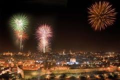 Fogo-de-artifício do feriado em Jerusalem. Fotografia de Stock