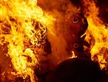 Fogo de Fallas que queima-se no fest de Valência o 19 de março Imagem de Stock