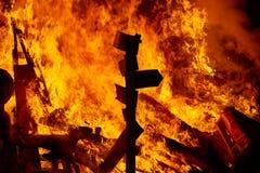 Fogo de Fallas que queima-se no fest de Valência o 19 de março Fotos de Stock Royalty Free