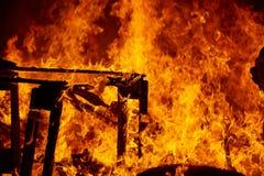 Fogo de Fallas que queima-se no fest de Valência o 19 de março Foto de Stock Royalty Free