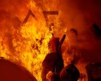 Fogo de Fallas que queima-se no fest de Valência o 19 de março Foto de Stock