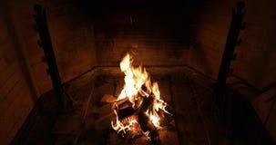 Fogo de queimadura com madeiras na chaminé na obscuridade, opinião do tijolo do close up video estoque