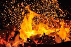 Fogo do carvão vegetal Foto de Stock