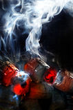 Fogo do carvão vegetal com fumo branco