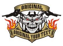 Fogo do emblema do crânio da motocicleta Fotografia de Stock Royalty Free