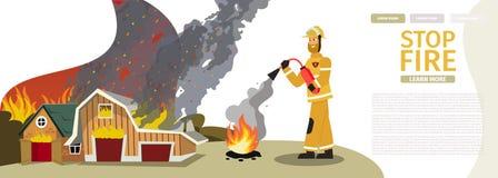 Fogo dos desenhos animados da ilustração do vetor - extinguindo ilustração royalty free