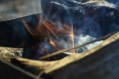 Fogo e fumo em um soldador Imagem de Stock Royalty Free