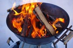 Fogo e lenha Ignição do assado que cozinha carvões imagens de stock royalty free