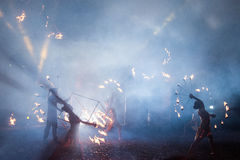 Fogo e povos Fotos de Stock