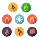 Fogo, gelo, vapor, ícones da água Estilo liso Imagem de Stock