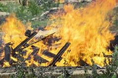 Fogo grande, descarga ardente, de alta temperatura Foto de Stock