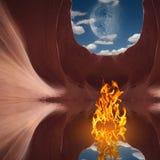 Fogo na caverna vermelha ilustração do vetor
