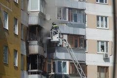 Fogo na construção residencial Fotos de Stock Royalty Free