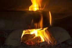 Fogo no fogão do russo foto de stock