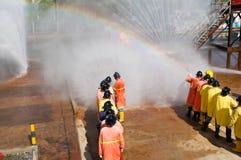 Fogo nos ensinos do ministério das situações de emergência Foto de Stock