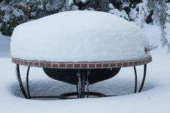 Fogo Pit Covered na neve profunda Foto de Stock