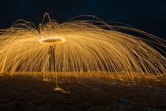 Fogo que acende a volta Foto de Stock