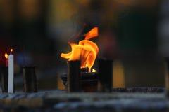 Fogo ritual no pagode Foto de Stock