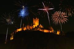 Fogos-de-artifício acima do castelo do cochem Imagem de Stock Royalty Free