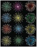 Fogos-de-artifício ajustados ilustração royalty free