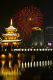 Fogos-de-artifício & pavilhão chinês Imagem de Stock Royalty Free