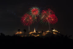 Fogos-de-artifício anuais do festival da província de Phetchaburi Foto de Stock Royalty Free